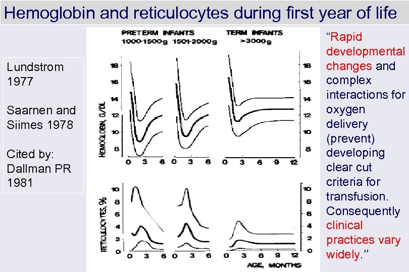 Hemoglobin and reticulocytes during first year of life Lundstrom 1977 Saarnen and Siimes 1978