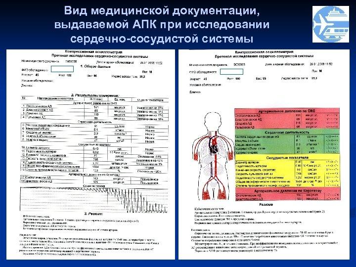 Вид медицинской документации, выдаваемой АПК при исследовании сердечно-сосудистой системы