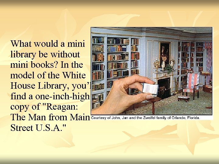 What would a mini library be without mini books? In the model of the