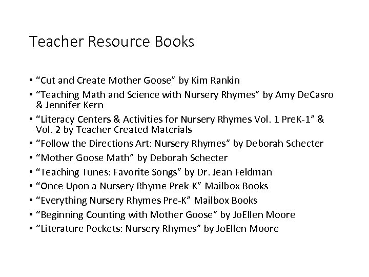 "Teacher Resource Books • ""Cut and Create Mother Goose"" by Kim Rankin • ""Teaching"