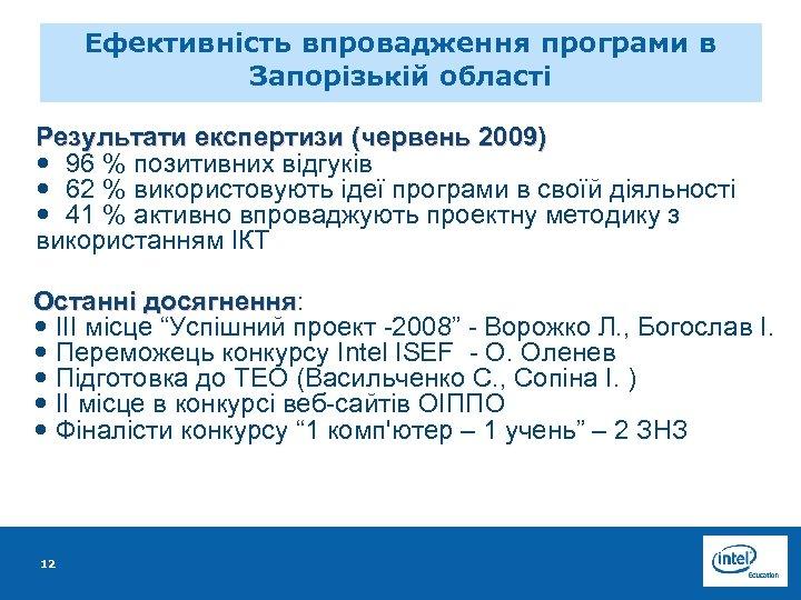 Ефективність впровадження програми в Запорізькій області Результати експертизи (червень 2009) 96 % позитивних відгуків