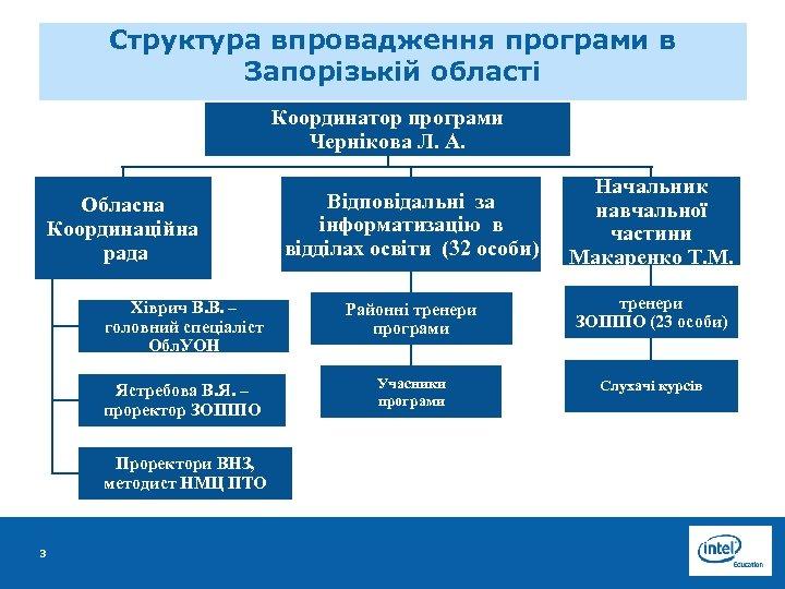 Структура впровадження програми в Запорізькій області Координатор програми Чернікова Л. А. Відповідальні за інформатизацію