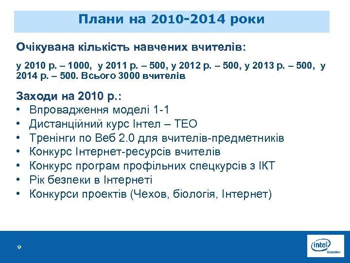Плани на 2010 -2014 роки Очікувана кількість навчених вчителів: у 2010 р. – 1000,