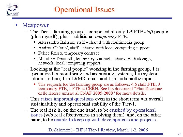 Operational Issues • Manpower – The Tier-1 farming group is composed of only 1.