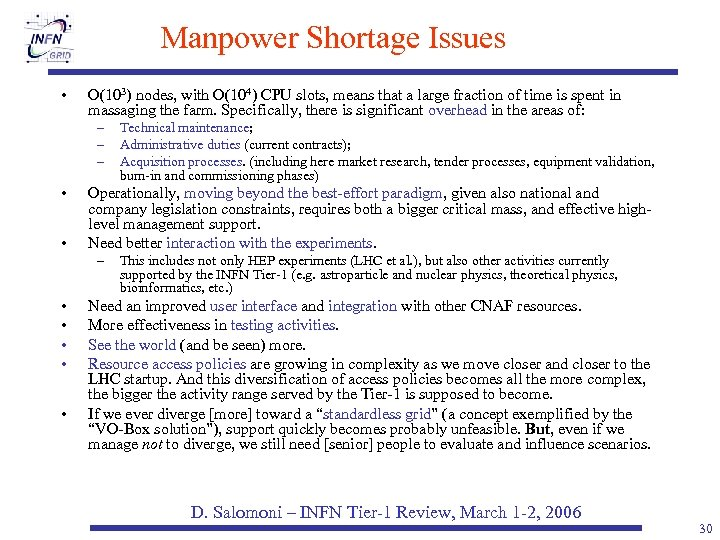 Manpower Shortage Issues • O(103) nodes, with O(104) CPU slots, means that a large