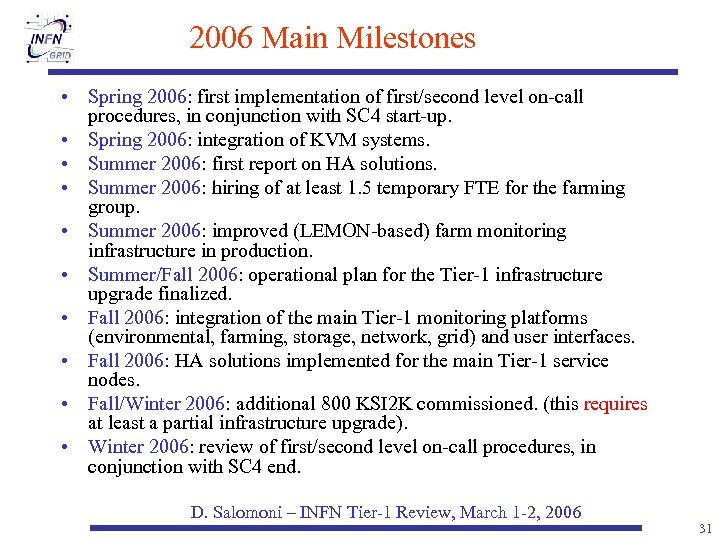 2006 Main Milestones • Spring 2006: first implementation of first/second level on-call procedures, in