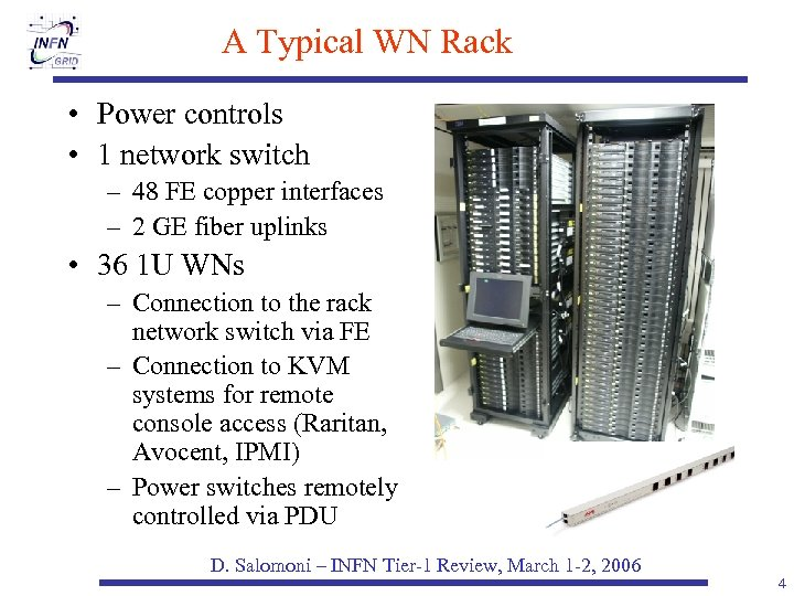 A Typical WN Rack • Power controls • 1 network switch – 48 FE