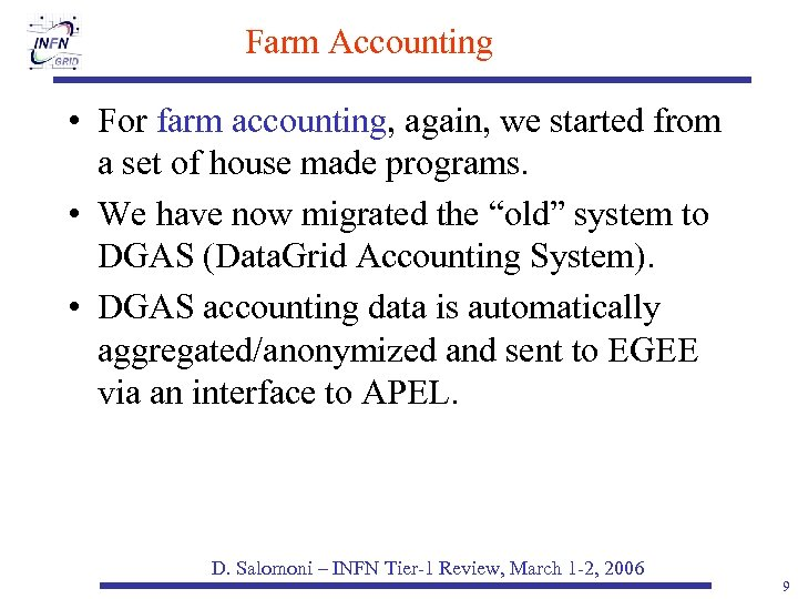 Farm Accounting • For farm accounting, again, we started from a set of house