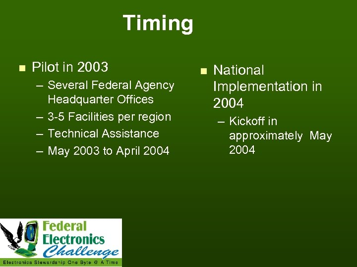 Timing n Pilot in 2003 – Several Federal Agency Headquarter Offices – 3 -5