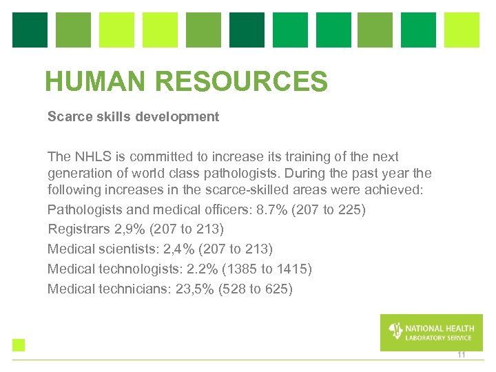 HUMAN RESOURCES Scarce skills development The NHLS is committed to increase its training of