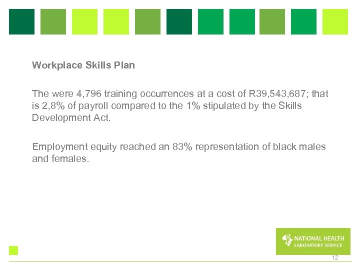 Workplace Skills Plan The were 4, 796 training occurrences at a cost of R