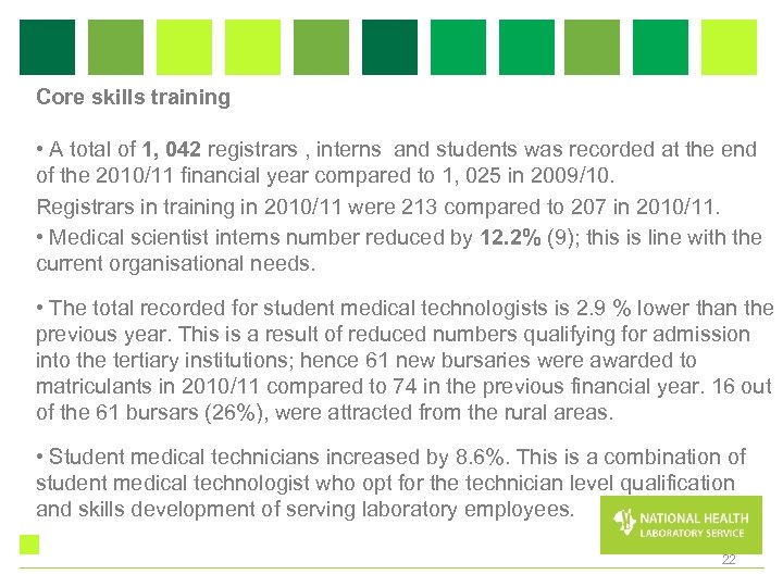 Core skills training • A total of 1, 042 registrars , interns and students