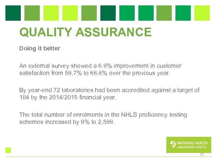 QUALITY ASSURANCE Doing it better An external survey showed a 6. 9% improvement in
