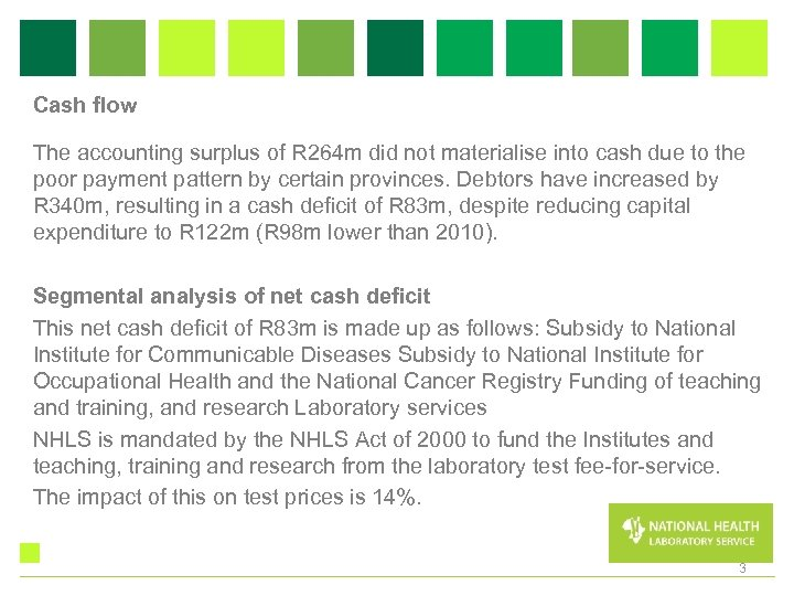 Cash flow The accounting surplus of R 264 m did not materialise into cash