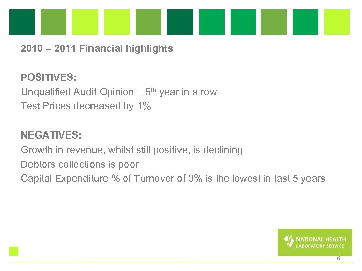 2010 – 2011 Financial highlights POSITIVES: Unqualified Audit Opinion – 5 th year in