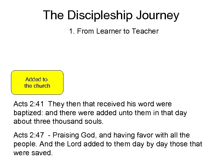 The Discipleship Journey 1. From Learner to Teacher Added to the church Acts 2: