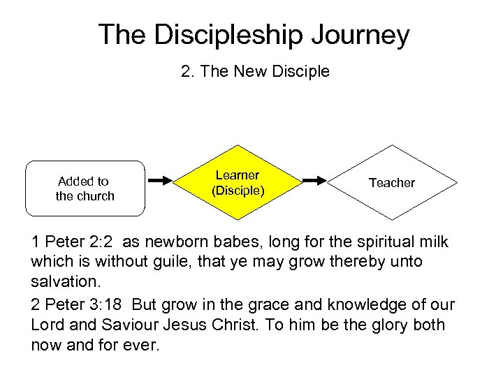 The Discipleship Journey 2. The New Disciple Added to the church Learner (Disciple) Teacher