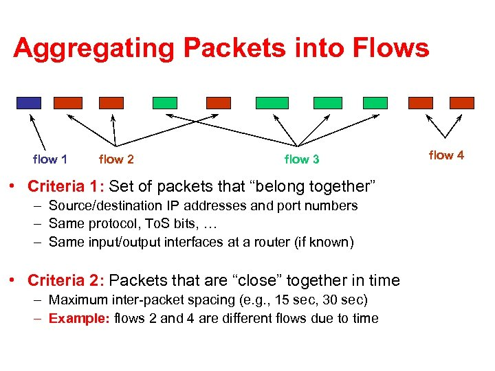 Aggregating Packets into Flows flow 1 flow 2 flow 3 • Criteria 1: Set