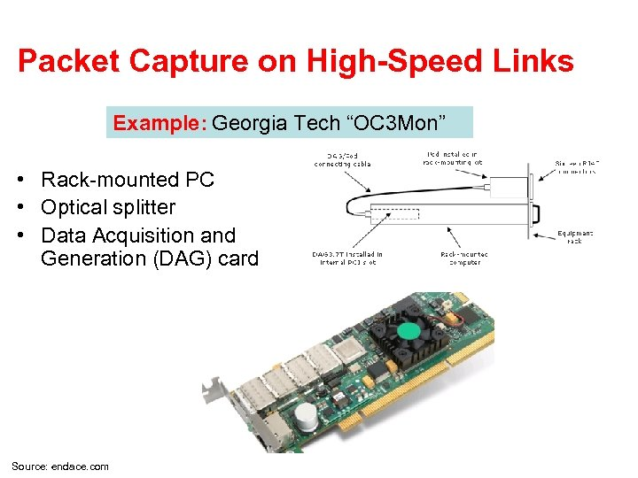 """Packet Capture on High-Speed Links Example: Georgia Tech """"OC 3 Mon"""" • Rack-mounted PC"""