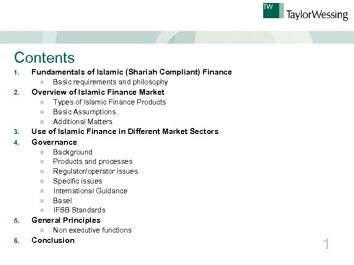 Contents 1. Fundamentals of Islamic (Shariah Compliant) Finance n 2. Overview of Islamic Finance