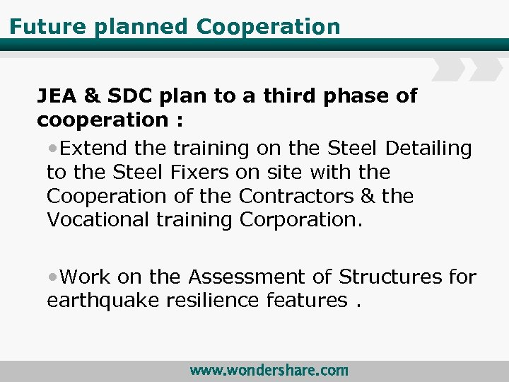 Future planned Cooperation JEA & SDC plan to a third phase of cooperation :