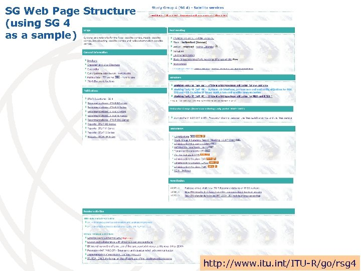 SG Web Page Structure (using SG 4 as a sample) http: //www. itu. int/ITU-R/go/rsg