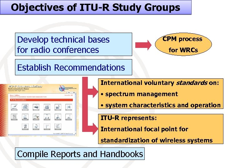 Objectives of ITU-R Study Groups Develop technical bases for radio conferences CPM process for
