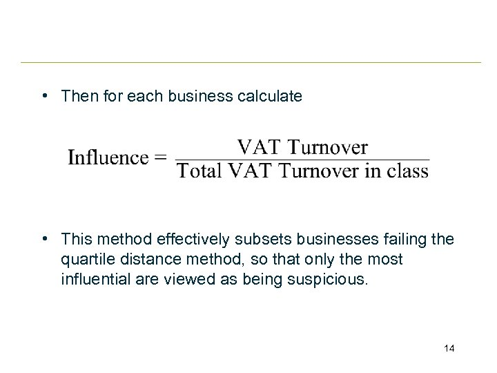 • Then for each business calculate • This method effectively subsets businesses failing