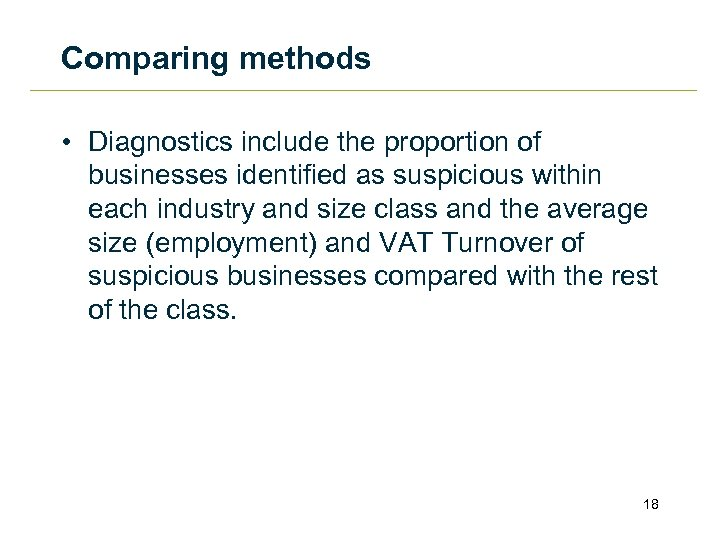 Comparing methods • Diagnostics include the proportion of businesses identified as suspicious within each