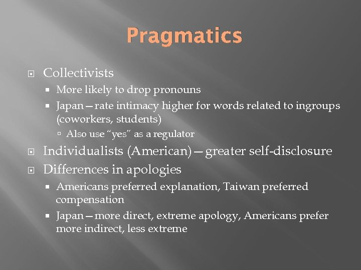 Pragmatics Collectivists More likely to drop pronouns Japan—rate intimacy higher for words related to