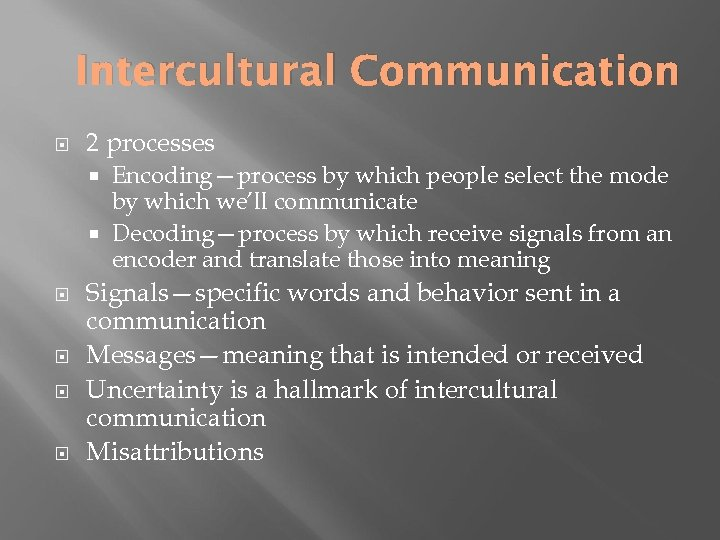 Intercultural Communication 2 processes Encoding—process by which people select the mode by which we'll