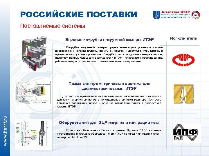 РОССИЙСКИЕ ПОСТАВКИ Поставляемые системы Верхние патрубки вакуумной камеры ИТЭР Патрубки вакуумной камеры предназначены для