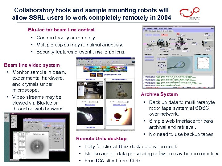 Collaboratory tools and sample mounting robots will allow SSRL users to work completely remotely