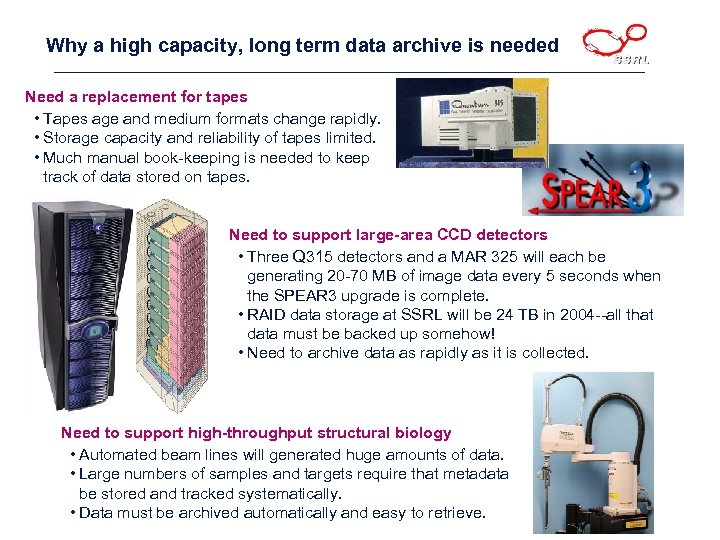 Why a high capacity, long term data archive is needed Need a replacement for