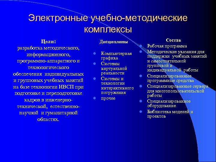 Электронные учебно-методические комплексы Цели: разработка методического, информационного, программно-аппаратного и технологического обеспечения индивидуальных и групповых