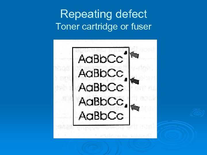 Repeating defect Toner cartridge or fuser