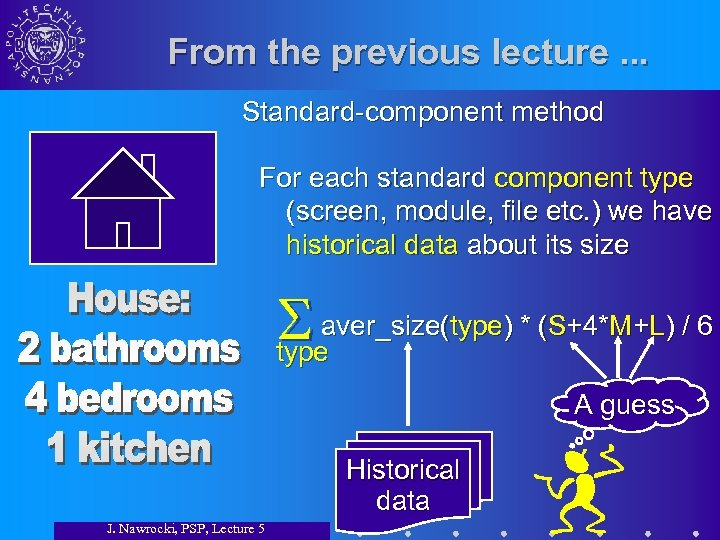 From the previous lecture. . . Standard-component method For each standard component type (screen,