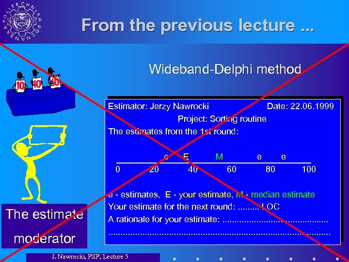 From the previous lecture. . . Wideband-Delphi method Estimator: Jerzy Nawrocki Date: 22. 06.