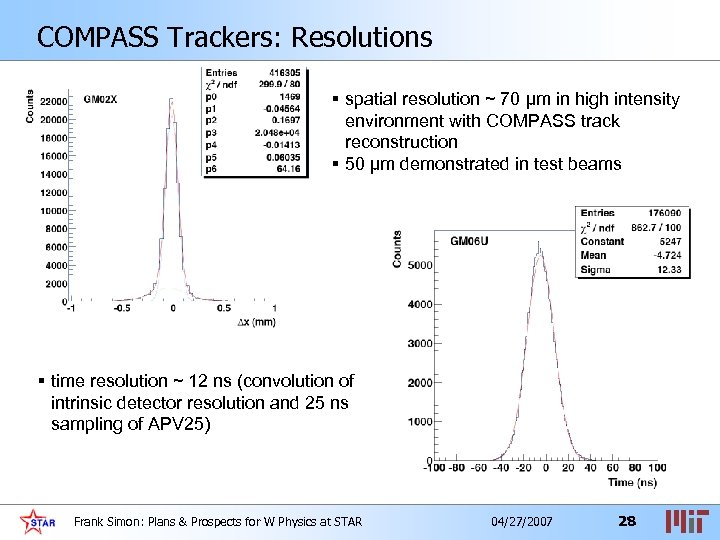 COMPASS Trackers: Resolutions § spatial resolution ~ 70 µm in high intensity environment with