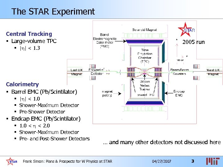 The STAR Experiment Central Tracking § Large-volume TPC 2005 run § | | <