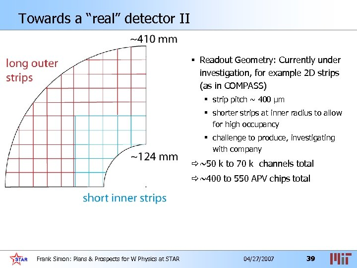 "Towards a ""real"" detector II § Readout Geometry: Currently under investigation, for example 2"