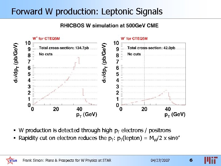 Forward W production: Leptonic Signals § W production is detected through high p. T