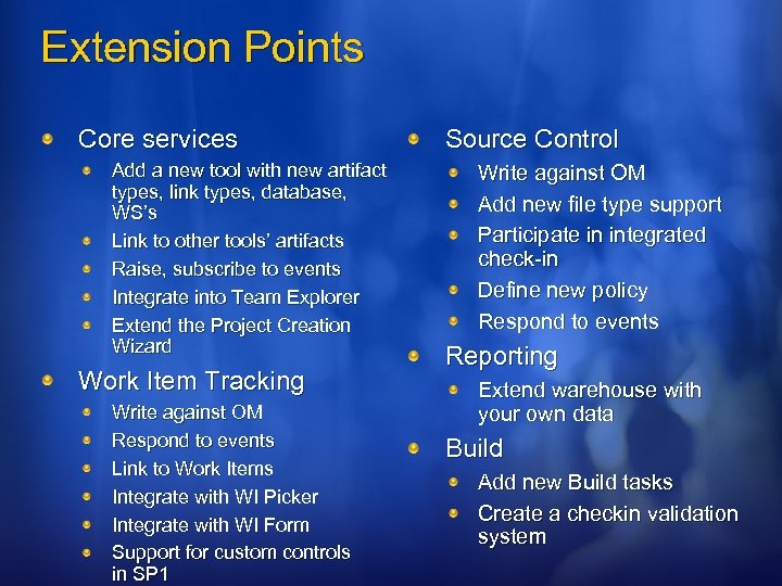 Extension Points Core services Add a new tool with new artifact types, link types,