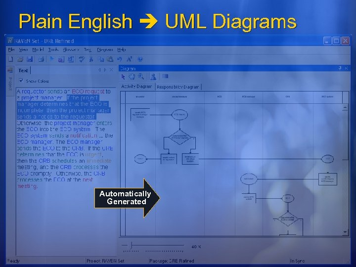 Plain English UML Diagrams Automatically Generated