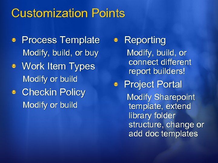 Customization Points Process Template Modify, build, or buy Work Item Types Modify or build