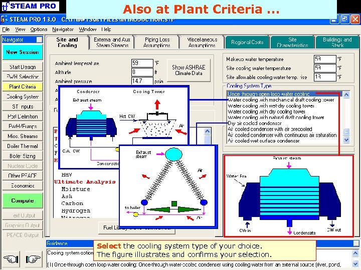 STEAM PRO Also at Plant Criteria. . . Select the cooling system type of