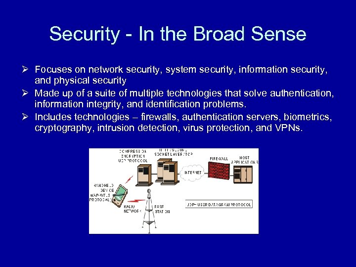 Security - In the Broad Sense Ø Focuses on network security, system security, information