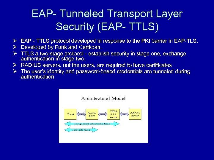 EAP- Tunneled Transport Layer Security (EAP- TTLS) Ø EAP - TTLS protocol developed in