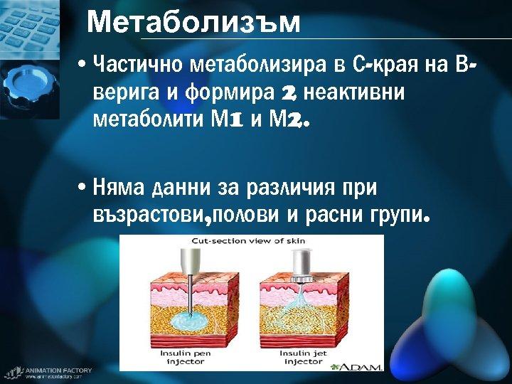 Метаболизъм • Частично метаболизира в С-края на Вверига и формира 2 неактивни метаболити М