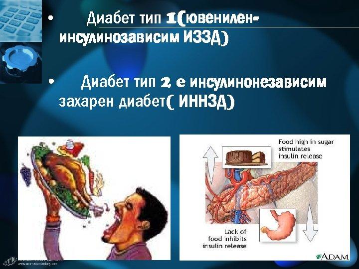 • Диабет тип 1(ювенилен- инсулинозависим ИЗЗД) • Диабет тип 2 e инсулинонезависим захарен